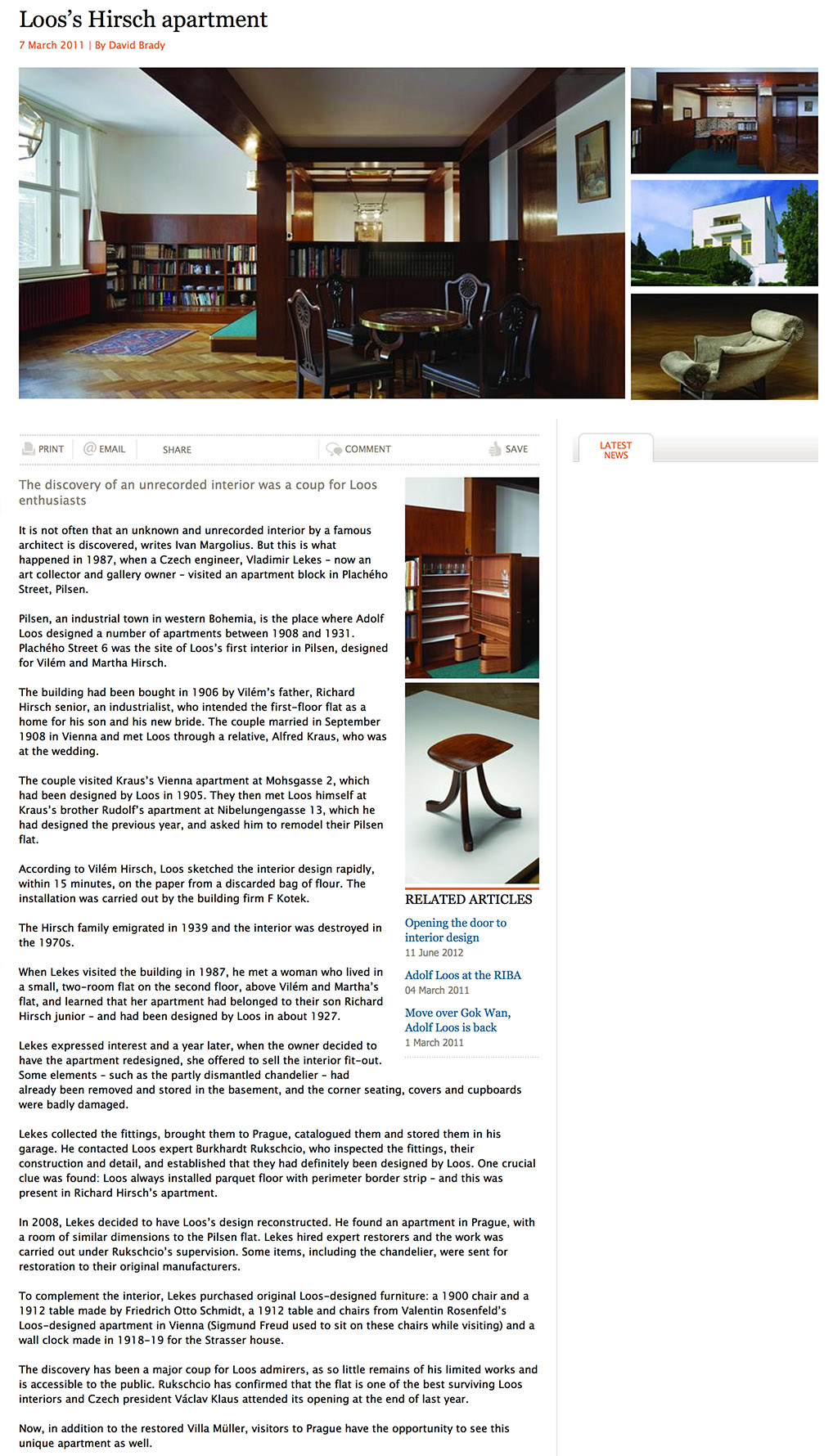 9997 David Brady: Loos's Hirsch apartment, 7. 3. 2011