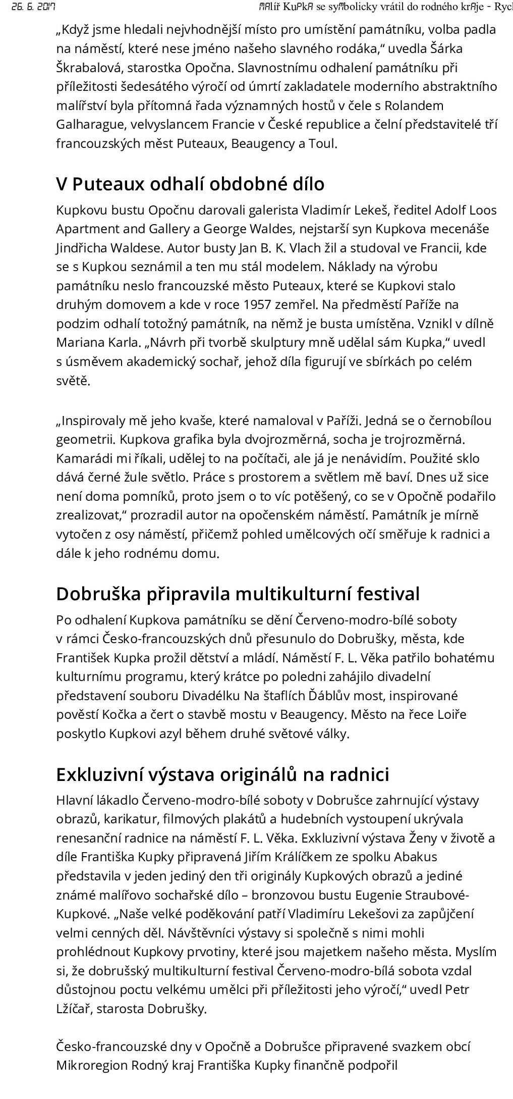 Rychnovský deník, 26.6.2017