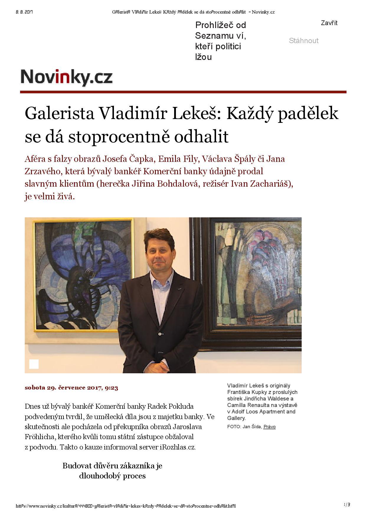 Novinky.cz, 29.7.2017, str. 1