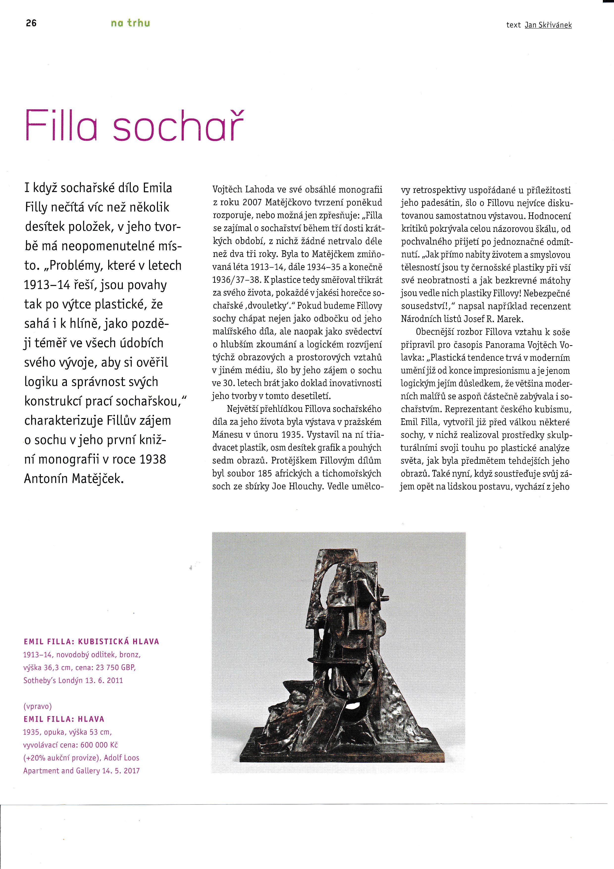 Filla sochař (Art + Antiques 04/2017) s.1