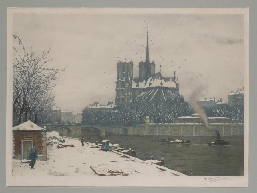 Zimní pohled na Notre Dame v Paříži