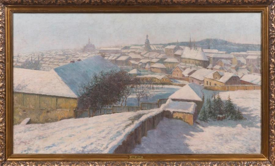 Pohled na město Slaný v zimě