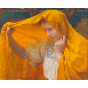 Vlaho Bukovac, Dívka v oranžovém šálu, 1909
