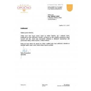 Thankful Acknowledgment to Vladimír Lekeš from the mayor of Opočno